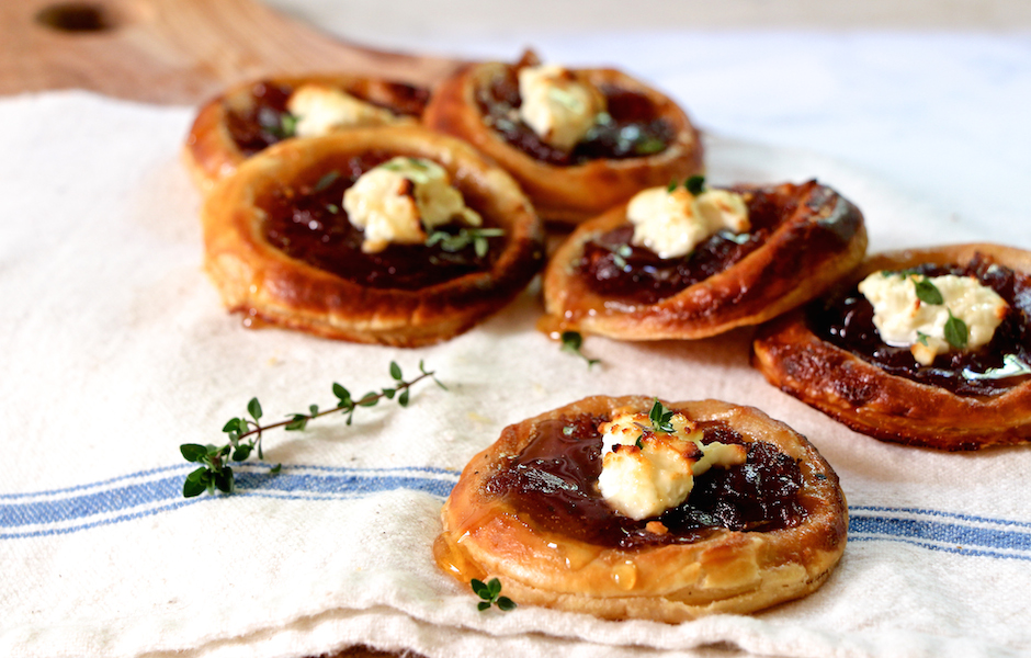 Caramelized onions and feta tart drizzled with honey