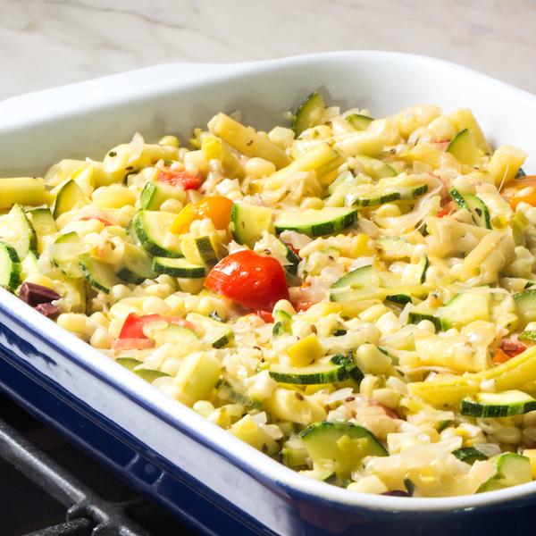 Zucchini succotash with cornbread topping