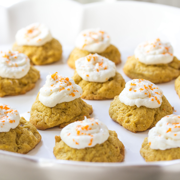 Pumpkin coconut cookies, cream cheese icingP
