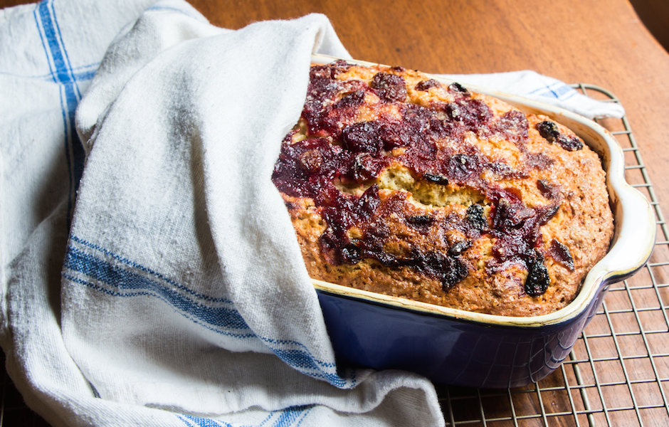 clove spiced buckle with cranberry sauce.