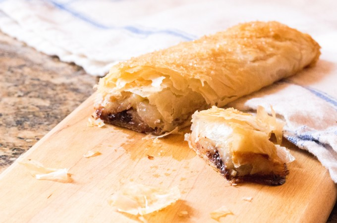 Wine-Poached Spiced Pear Strudel with Chocolate