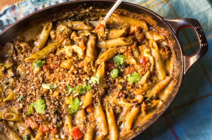 Curried Cauliflower & Greens Mac and Cheese: #ComfortFoodFeast