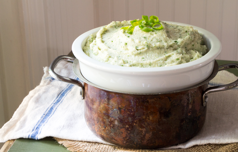 Mashed celery root whipped up with mascarpone and blue cheeses, watercress, and topped with thinly sliced scallions.