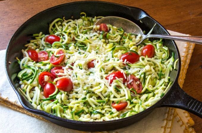 Spiralized Zucchini: Zucchetti with Garlic, Tomatoes and Asiago Cheese: #WeekdaySupper