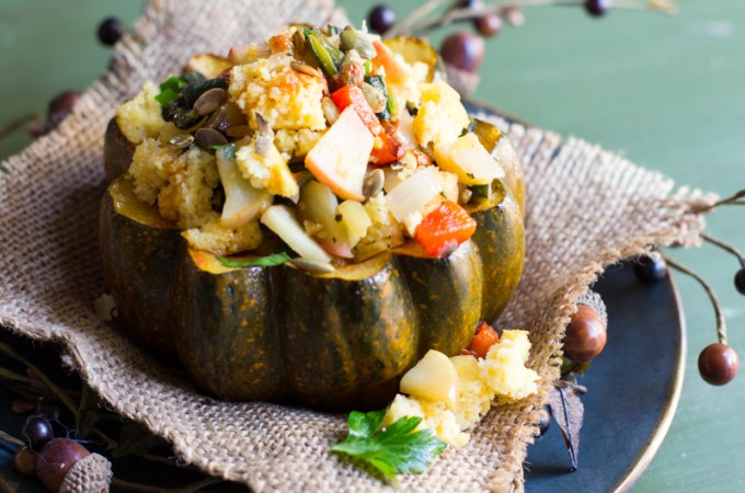 Spiced Acorn Squash with Charred Poblano Pepper – Cornbread Stuffing