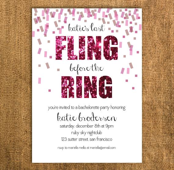 Glitter Bachelorette Invitation