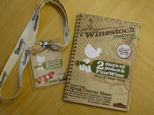 Festival guide and pass to Winestock