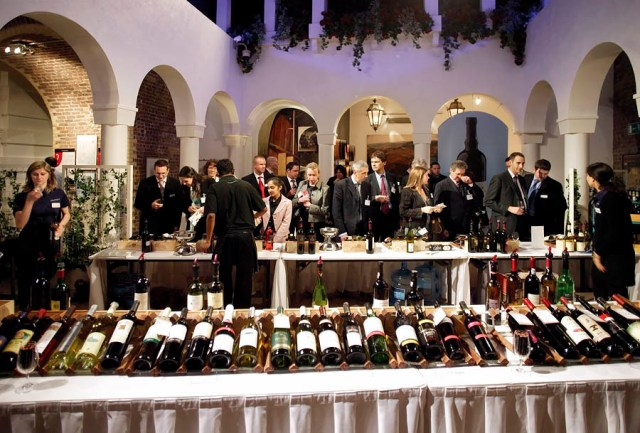 group of wine tasters, selection of bottles