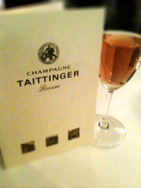 Taittinger rose and menu from Moti Mahal in Covent Garden, London