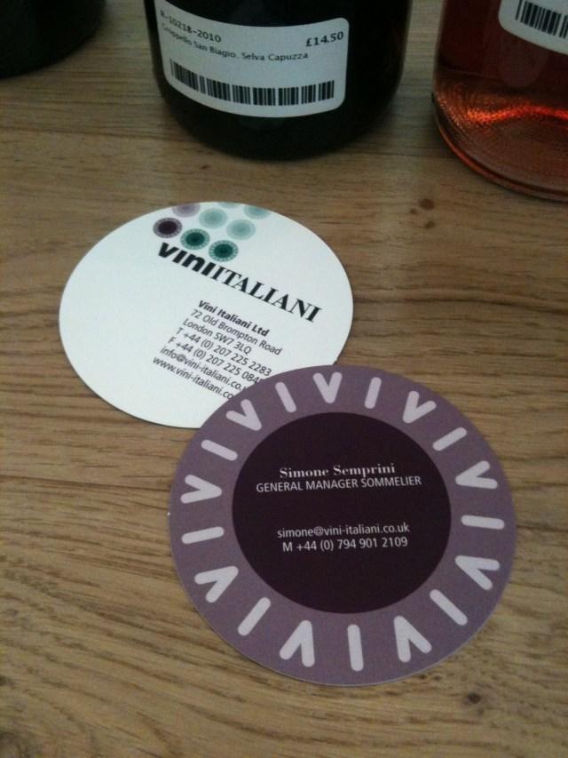 Vini Italiani biz cards