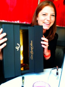 Cordelia Rosa from Billecart-Salmon showing off the new packaging