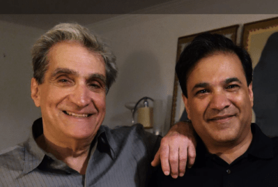S. Abbas Raza, founding editor of 3QD, with American poet Robert Pinsky. Credit: 3QD