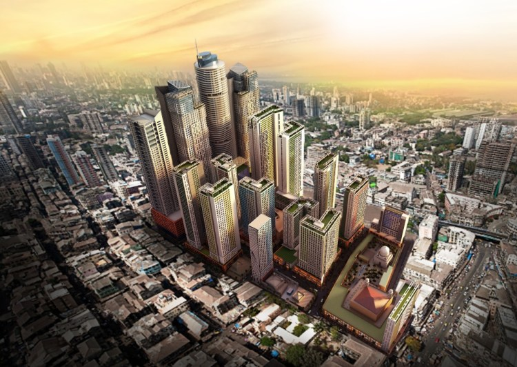 An artist's rendition of what Bhendi Bazaar in Mumbai will look in a few years after it is completely revamped