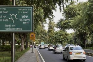 The new sign for Lok Kalyan  Marg, formerly Race Course Road, in Delhi. Credit: PTI