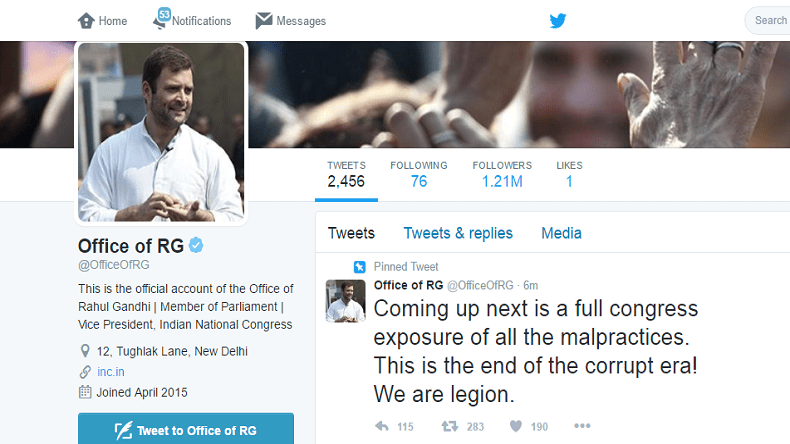 A snapshot of Rahul Gandhi's Twitter account while hacked by the Legion Crew