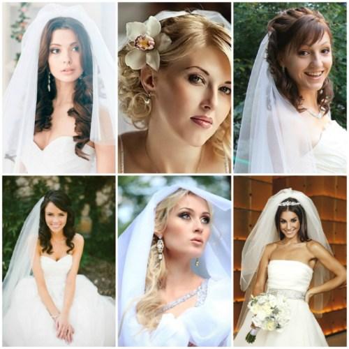 свадебные-прически-на-средние-волосы-с-фатой-девушки
