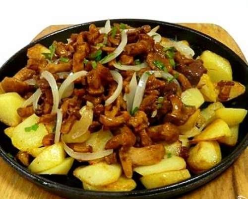 Рецепт жареной картошки с грибами на сковороде пошагово