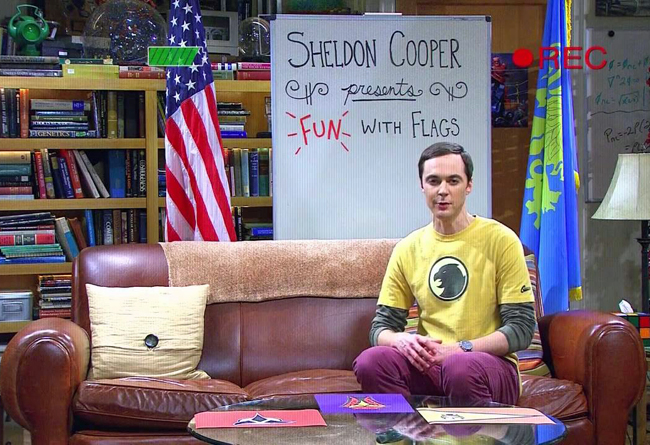 Big Bang Theory Screen Capture of Sheldon and Fun With Flags