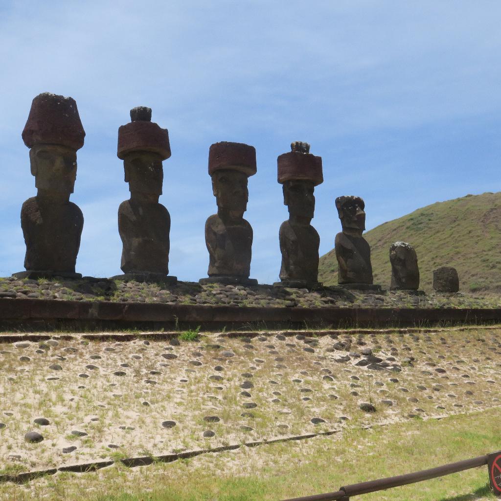 Ahu Nau Nau at Anakena Beach - These 7 Moai, Easter Island, Rapa Nui, Hanga Roa, Isla de Pascua, Chile, South America