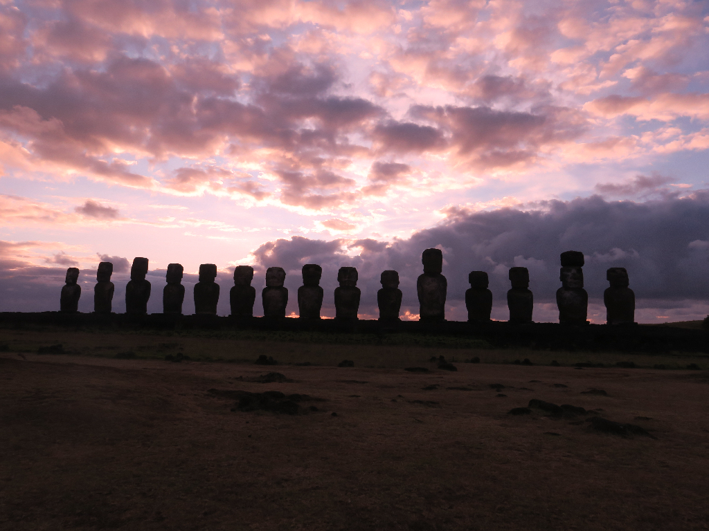 Tongariki Sunrise Sunset Easter Island, Rapa Nui, Hanga Roa, Vanuatu, Isla de Pascua, Chile, South America
