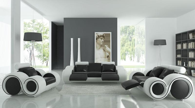 Large Of Black And White Living Room