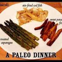A Paleo Dinner: Stir-Fried Cod, Roasted Asparagus, and Sweet Potato Fries