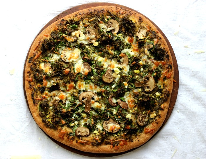 Whole Wheat Pesto Pizza with Kale and Mushrooms