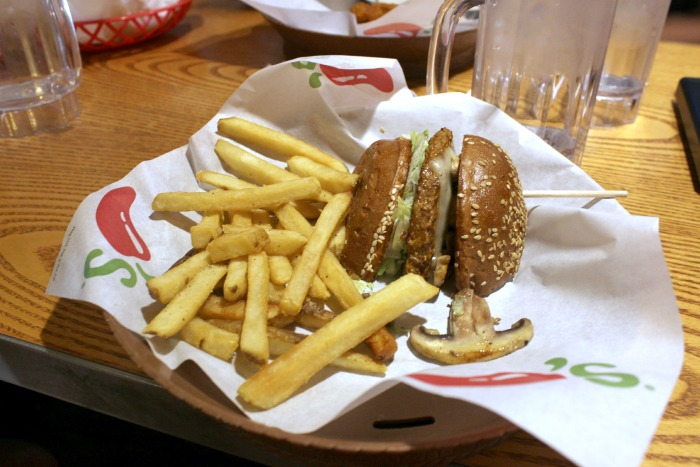 black bean mushrooms swiss burger @ Chilis