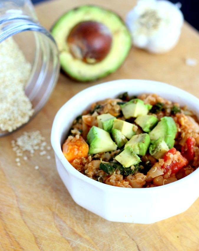 vegan quinoa sweet potato and kale chili