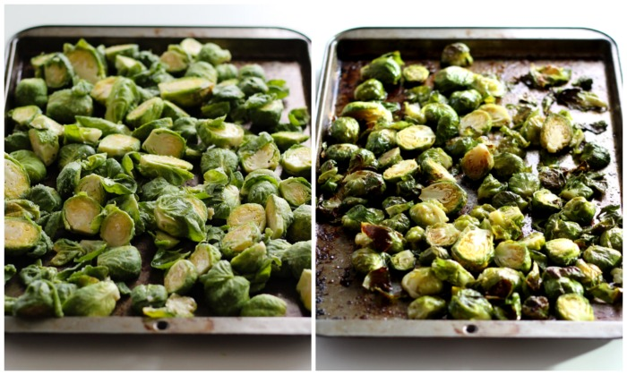 Maple Roasted Brussel Sprouts with Quinoa, Dried Cranberries, and Slivered Almonds. It's vegan, gluten free, and a perfect Thanksgiving side dish!