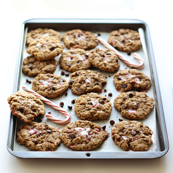 Peanut Butter Oatmeal Monster Cookies with Crushed Candy Canes! The best part? No flour!
