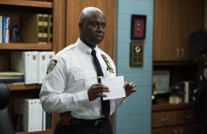 "BROOKLYN NINE-NINE: Capt. Holt (Andre Braugher) in the ""Sabotage"" episode of BROOKLYN NINE-NINE airing Sunday, March 15 (8:30-9:00 PM ET/PT) on FOX. ©2015 Fox Broadcasting Co. CR: Eddy Chen/FOX"