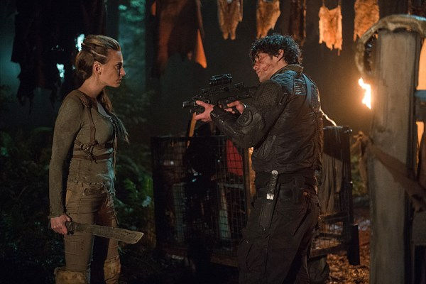 "The 100 -- ""Nevermore"" -- Image HU311a_0211 -- Pictured (L-R): Jessica Harmon as Niylah and Bob Morley as Bellamy -- Credit: Diyah Pera/The CW -- © 2016 The CW Network, LLC. All Rights Reserved"