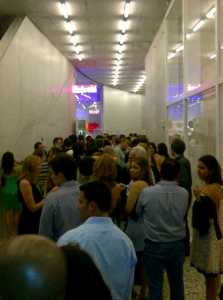 The crowd waiting for entry