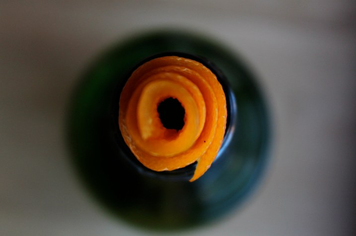 Orange Peel in Wine Bottle