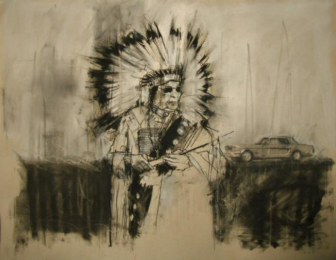 """AIM, the second battle of Wounded Knee (February 1973)"" conte and pastel on paper 66 x 55 cm 28th February 2013"