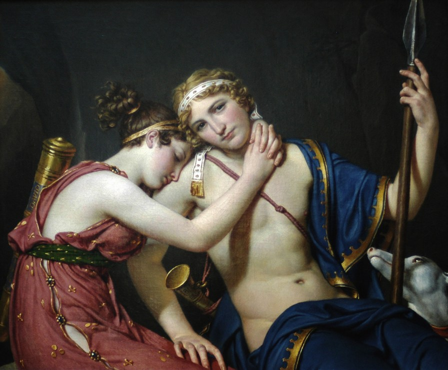 """The Farewell of Telemachus and Eucharis"" by Jacques-Louis David  French, 1818  Oil on canvas 34 1/2 x 40 1/2 in."