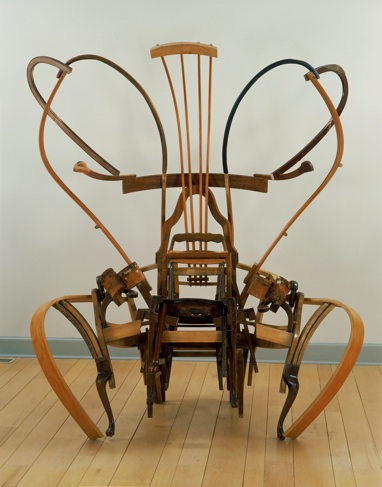 """Throne For The Greatest Rapper Of All Time,"" 2005  Found Wood Furniture, 96""h 69""w 48""d"