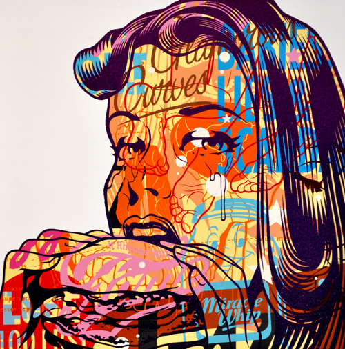 TrustoCorp :: Trusto Pulp (It Rhymes With Fame) Mixed media on wood panel, 18x18""