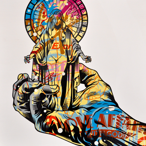 TrustoCorp :: Trusto Pulp (Love Affair With God) Mixed media on wood panel, 18x18""