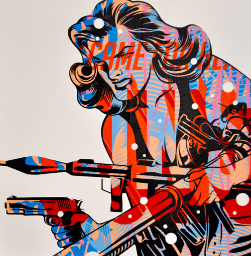 TrustoCorp :: Trusto Pulp (They Can For Her Guns) Mixed media on wood panel, 18x18""