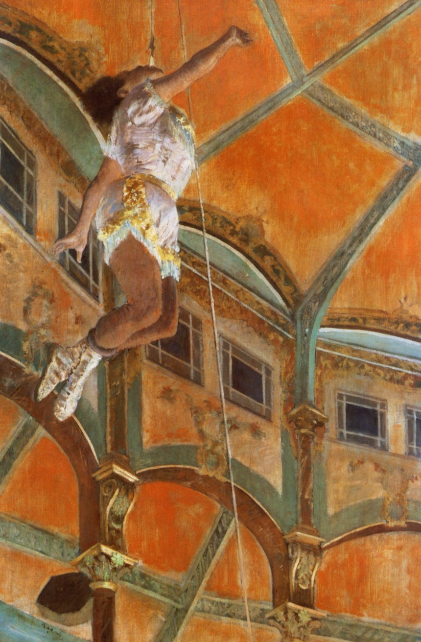 "Degas' ""Miss La La at the Cirque Fernando"" via Wikipaintings."
