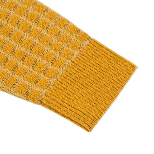 Paul Smith Mustard Square Tuck-Stitch Sweater