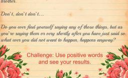 Challenge Use Positive Words