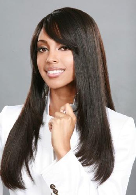 long straight black weave hairstyles with bangs