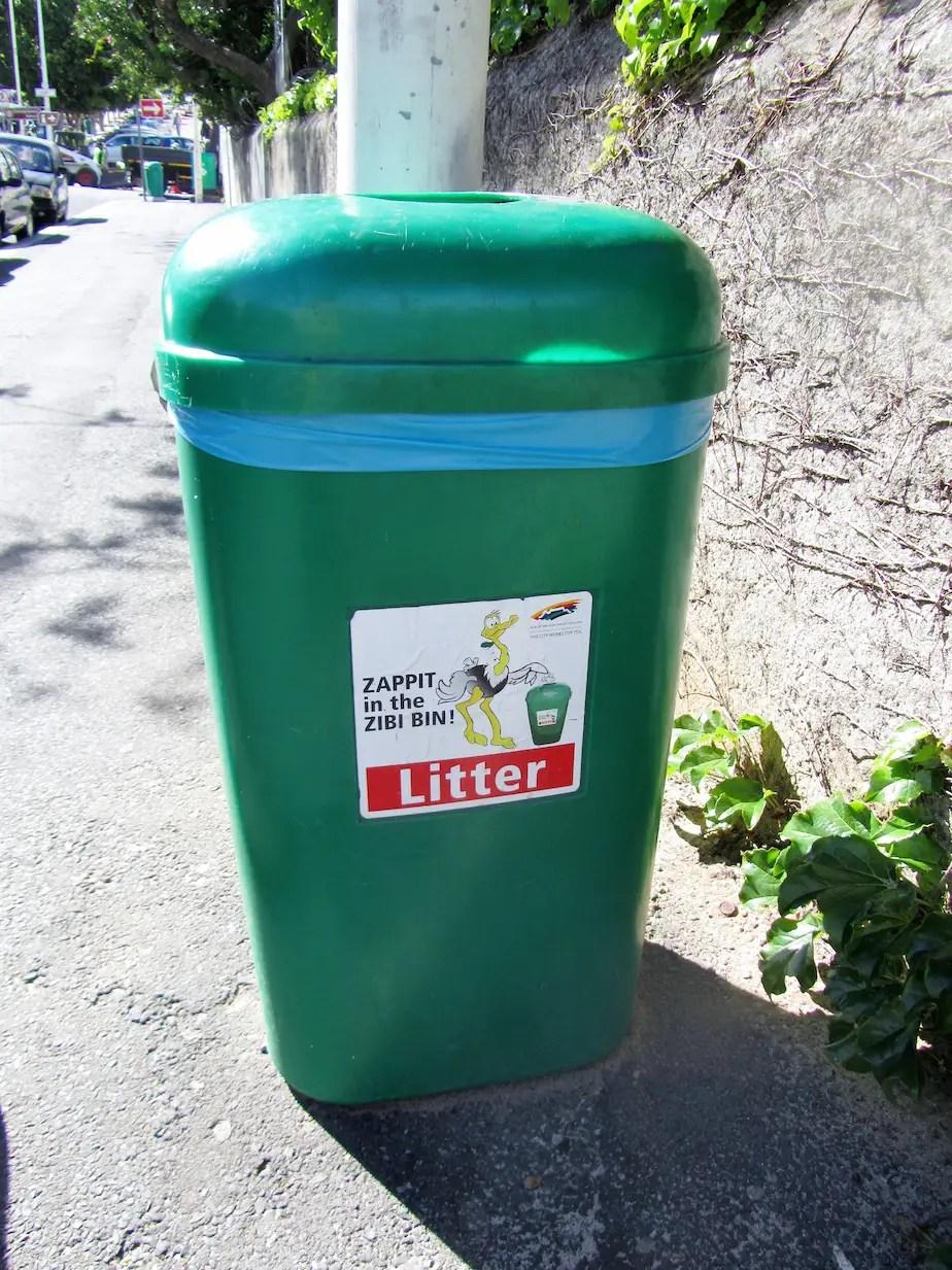 Zibi litter bin along a street, Cape Town
