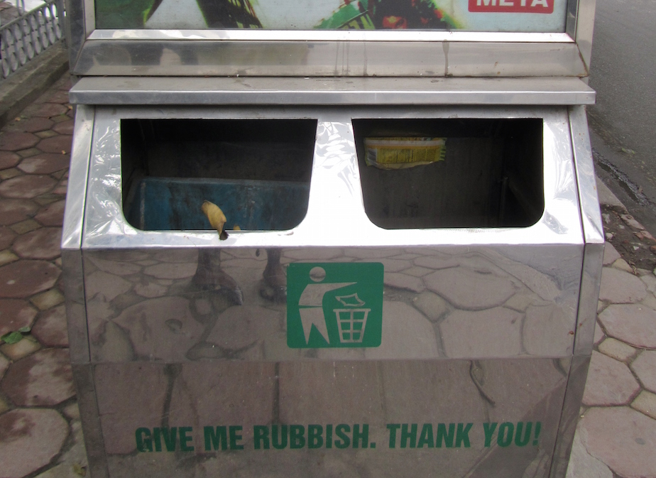 'Give me rubbish, thank you' Dual compartment bin, Kim Ma Street, Hanoi