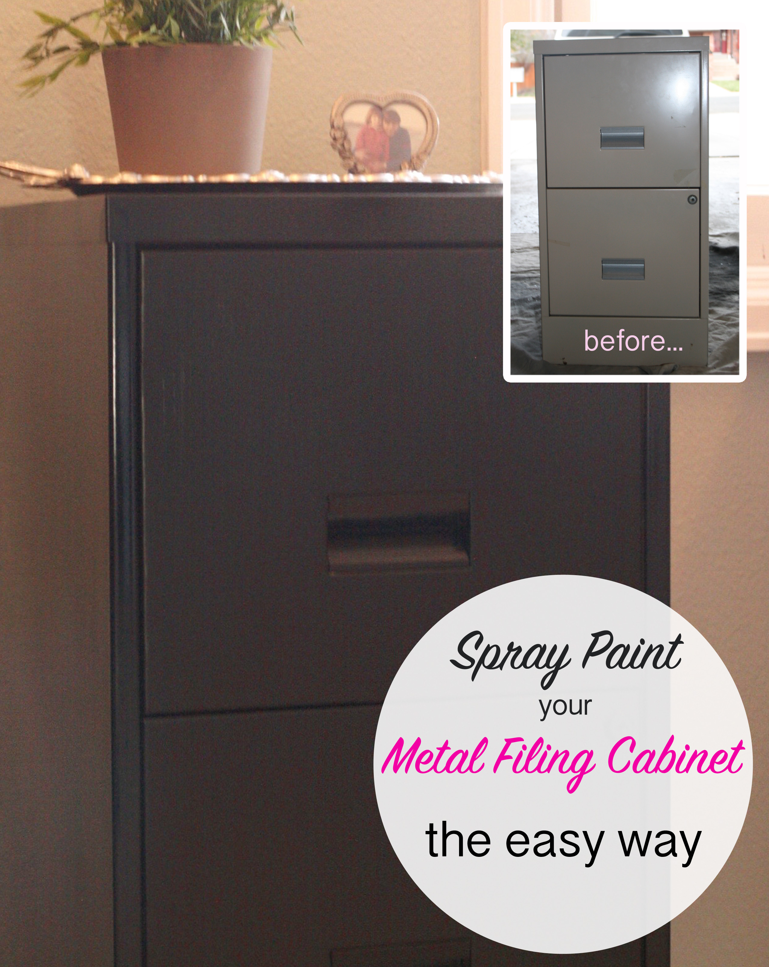 How to Spray Paint a Metal Filing Cabinet - This Bold Home