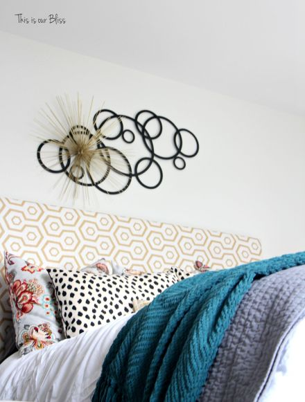 bed view - layered metal wall decor - unique wall art - Guestroom revamp - This is our Bliss