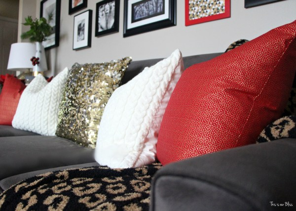 12 days of christmas tour of homes - formal living room couch with holiday pillows - diy pillow - christmas decor - This is our Bliss
